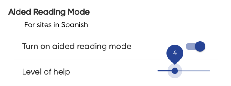 Aided Reading Mode Settings